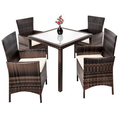 Rattan Gartenmöbel Set braun für 4 Personen