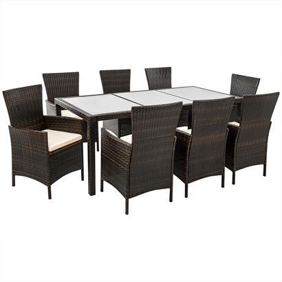 Rattan Gartenmöbel Set braun für 8 Personen