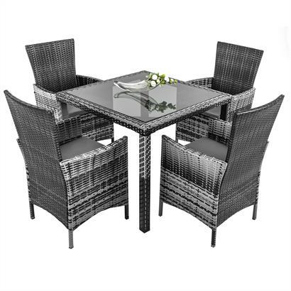 Polyrattan Gartenmöbel Set grau für 4 Personen