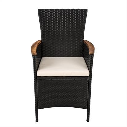 Rattan Sitzgruppe für 4 Personen schwarz