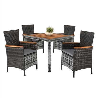 Rattan Sitzgruppe für 4 Personen grau