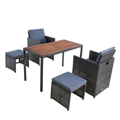 Polyrattan Sitzgruppe Gartenmöbel Set Rattanmöbel 4 Personen Gartenset Grau