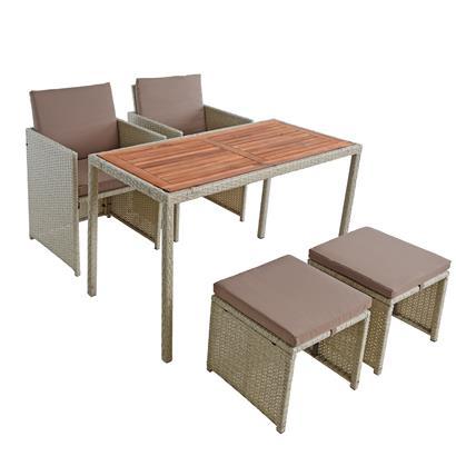 Polyrattan Sitzgruppe Gartenmöbel Set Rattanmöbel 4 Personen Gartenset Beige