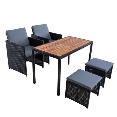 Polyrattan Sitzgruppe Gartenmöbel Set Rattanmöbel 4 Personen Gartenset Schwarz