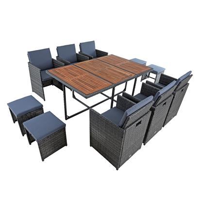 Polyrattan Sitzgruppe Gartenmöbel Set Rattanmöbel 10 Personen Gartenset Grau