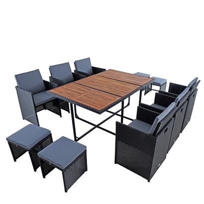 Polyrattan Sitzgruppe Gartenmöbel Set Rattanmöbel 10 Personen Gartenset Schwarz