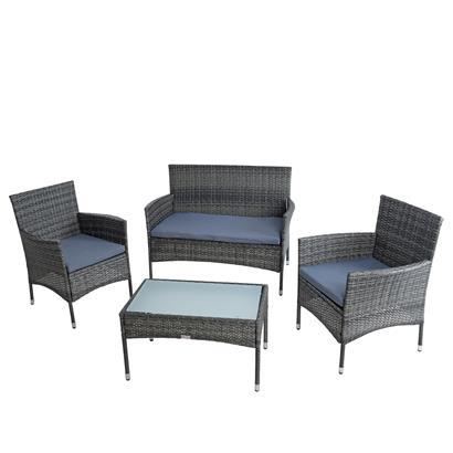 Polyrattan Sitzgruppe Tisch Stühle Gartenmöbel Set Essgruppe Anthrazit-Grau