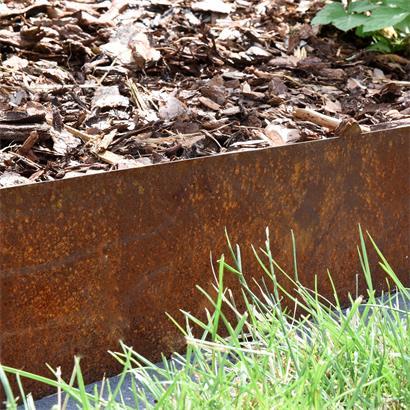Beeteinfassung Beetumrandung Rasenkante 2er Set Edel-Rost Hochbeet Cortenstahl