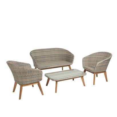 Polyrattan Sitzgruppe beige-grau