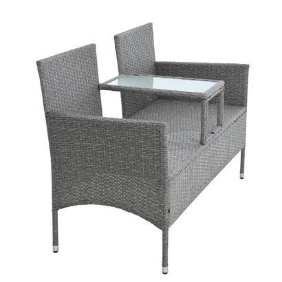 Polyrattan Gartenbank Bank Rattan Sitzbank 2-Sitzer Gartenmöbel Balkonmöbel Grau