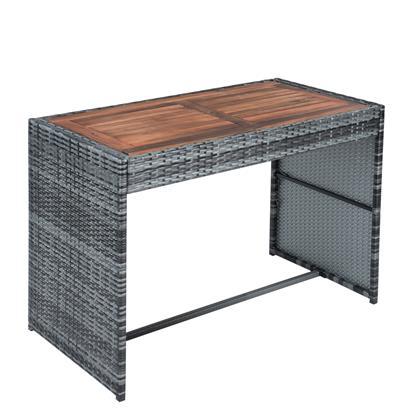 Rattan Sitzgruppe Würfel, Tisch, 2 Stühle, 2 Hocker, grau