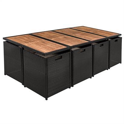 Rattan Sitzgruppe cube Würfelsystem schwarz für 12 Personen