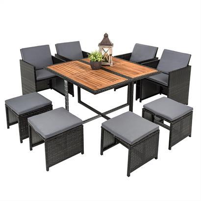 Rattan Sitzgruppe cube Würfelsystem grau für 8 Personen