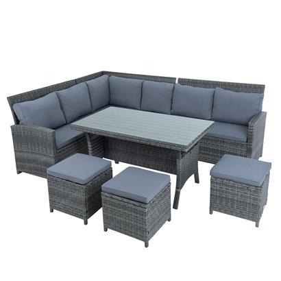 Rattan Sofa Set 7teilig grau