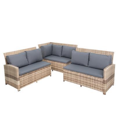 Rattan Sofa Set 7teilig beige