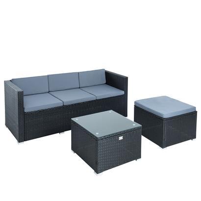 Rattan Lounge schwarz für 4 Personen