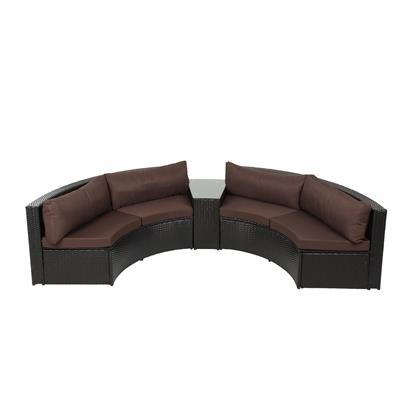 Polyrattan-Lounge rund braun