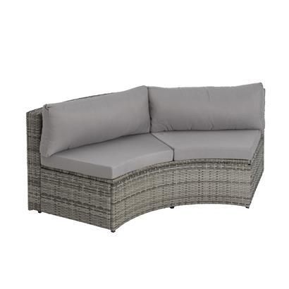 Polyrattan-Lounge rund grau