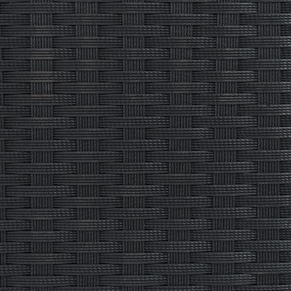 Rattanbank 2-Sitzer mit Ottomane schwarz