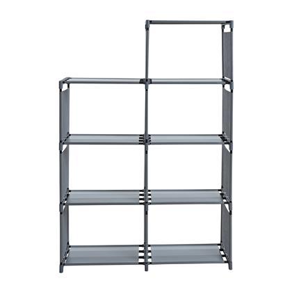 Treppenregal Stufenregal Bücherregal Stecksystem Stoff 7 Fächer Bücherschrank