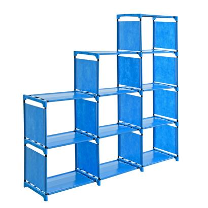 Treppenregal Stufenregal Standregal Bücherregal Stoff 9 Fächer Bücherschrank