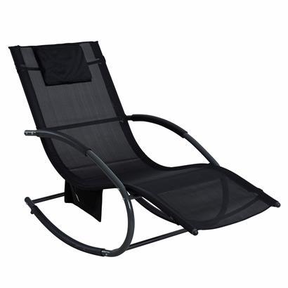 Schaukelliege Sonnenliege Liegestuhl Relaxliege Gartenliege Liege Swing Schwarz