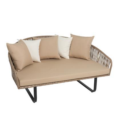 Polyrattan Sofa rund, Seiloptik, XXL