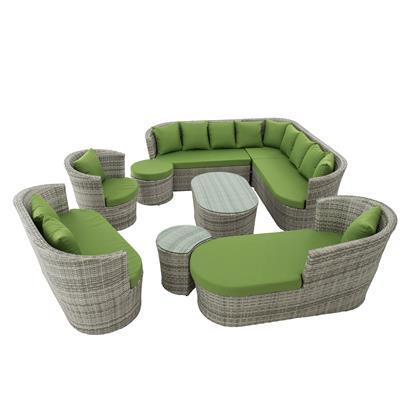 Polyrattan Lounge Set grau