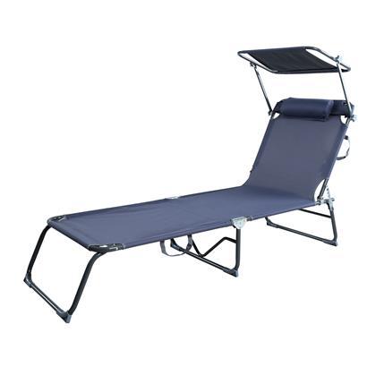 Gartenliege Sonnenliege Strandliege Liege Freizeitliege mit Kopfkissen klappbar und Lehne sowie Sonnendach verstellbar