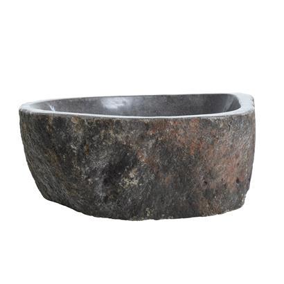 Waschbecken aus Naturstein 45-50 x 15 cm Waschtisch Waschschale Naturstein Grau