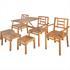 Akazienholz 5 teilige Sitzgarnitur bestehend aus 1 Balkonbank mit Klapptisch, 1 Beistelltisch, 1 Stuhl und 2 Hocker