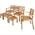 Akazienholz 5 teilige Sitzgruppe bestehend aus 1 Balkonbank mit Klapptisch, 1 Beistelltisch, 1 Stuhl und 2 Hocker