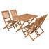 Akazienholz Gartenmöbel Set bestehend aus 1 Gartentisch und 4 Gartenstühlen