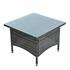 Beistelltisch Tisch Polyrattan Gartentisch Rattan Balkontisch Anthrazit-Grau