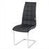 Esszimmerstuhl mit hochwertigem Kunstlederbezug, Freischwinger Farbe schwarz, Gestell aus Metall verchromt, Seitenansicht