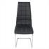 Esszimmerstuhl mit hochwertigem Kunstlederbezug, Freischwinger Farbe schwarz, Gestell aus Metall verchromt, Frontalansicht