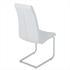 Esszimmerstuhl mit hochwertigem Kunstlederbezug, Freischwinger Farbe weiss, Gestell aus Metall verchromt, Rueckansicht