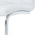Esszimmerstuhl mit hochwertigem Kunstlederbezug, Freischwinger Farbe weiss, Gestell aus Metall verchromt