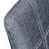 Esszimmerstuhl 2 er Set mit Stoffbezug in Dunkelgrau, 3 cm Polsterung, mit Metall Stuhlbeinen in Holzoptik, Detailansicht der Rueckenlehne