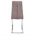Esszimmerstuhl Freischwinger mit Stoffbezug in der Farbe Beige, Grau, Polsterstuhl mit Metall Gestell verchromt, Rueckansicht