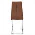 Esszimmerstuhl Freischwinger mit Stoffbezug in der Farbe Braun, Polsterstuhl mit Metall Gestell verchromt, Rueckansicht