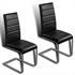2er Set, formschoene Freischwingerstuehle im Industriedesign, bequeme Polsterung, hochwertiger Kunstlederbezug, Farbe schwarz