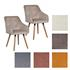 Vintage Esszimmerstuhl Set mit Stoffbezug in den Farben Grau und Beige, Polstersessel mit Knoepfen, Stuhl mit Holzfuessen