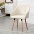 Vintage Esszimmerstuhl Set mit Stoffbezug in der Farbe Beige, Polstersessel mit Knoepfen, Stuhl mit Holzfuessen, Stuhl in Wohnsituation