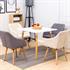Vintage Esszimmerstuhl Set mit Stoffbezug in den Farben Grau und Beige, Polstersessel mit Knoepfen, Stuhl mit Holzfuessen, Sitzgruppe