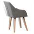 Vintage Esszimmerstuhl Set mit Stoffbezug in der Farbe Grau, Polstersessel mit Knoepfen, Stuhl mit Holzfuessen, Rueckansicht