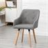 Vintage Esszimmerstuhl Set mit Stoffbezug in der Farbe Grau, Polstersessel mit Knoepfen, Stuhl mit Holzfuessen, Stuhl in Wohnsituation