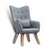 Fernsehsessel mit Kissen von Estexo, TV Sessel Polsterung mit Knoepfen, stabile Holzbeine, Farbe Grau