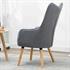 Fernsehsessel mit Kissen von Estexo, TV Sessel Polsterung mit Knoepfen, stabile Holzbeine, Farbe Grau, Rueckansicht