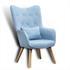Fernsehsessel mit Kissen von Estexo, TV Sessel Polsterung mit Knoepfen, stabile Holzbeine, Farbe Hellblau